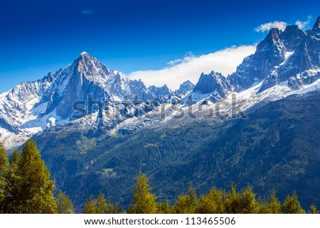 Snow covered mountains and rocky peaks in the French Alps