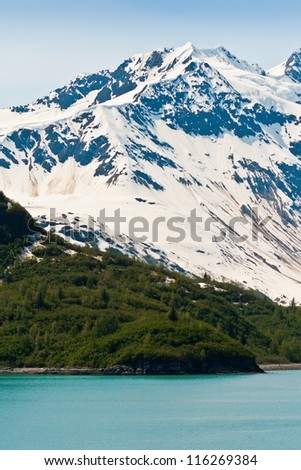 Snow covered mountains and thick forest make up the coastline of the Inside Passage - stock photo