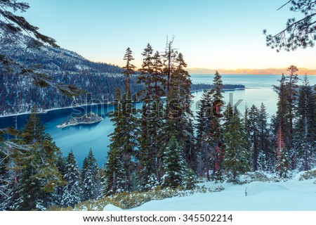 Snow covered mountains at Emerald Bay, South Lake Tahoe, CA - stock photo