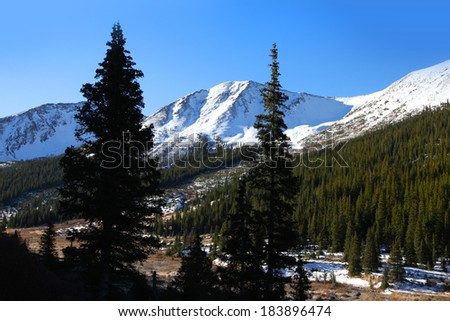 Snow covered mountains in Independence pass  - stock photo