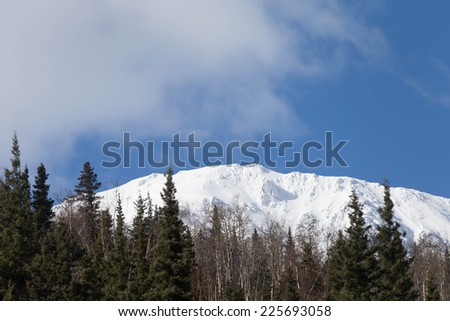 Snow covered mountains in the Kenai Peninsula - stock photo