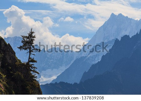 Snow covered mountains, rocky cliffs and an isolated pine tree in the French Alps