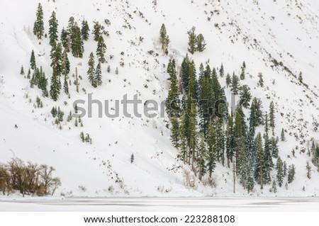 Snow-covered mountainside along Convict Lake, California - stock photo