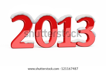 Snow covered New Year 2013 red render (isolated on white and clipping path)