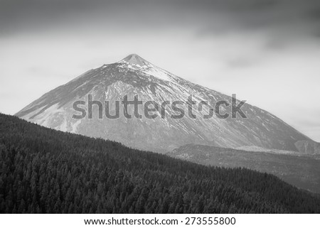 Snow-covered peak of Teide, black-and-white photography, Tenerife - stock photo