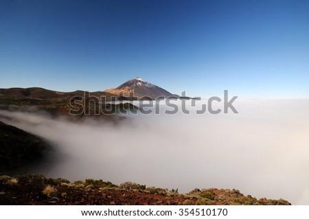 Snow-covered peak of Teide, Tenerife - stock photo