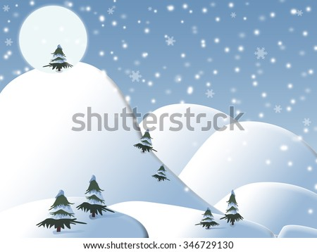 snow-covered pine trees on the hillside