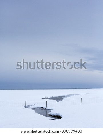 Snow covered sandar, Southern Iceland - stock photo
