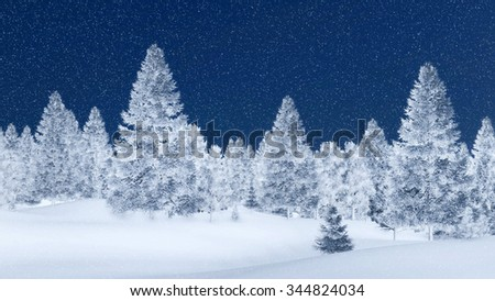 Snow-covered spruce forest among snowbanks at magical snowfall night. Decorative 3D illustration was done from my own 3D rendering file. - stock photo