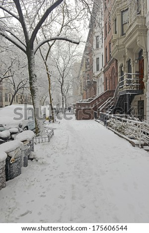 Snow Covered Street in Upper West Side during Snowstorm, Manhattan, New York City
