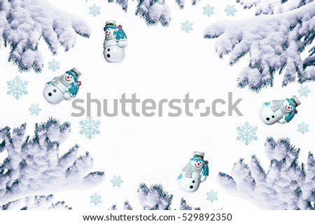 Snow covered trees. Festive Christmas composition. Card. Top view, flat lay.