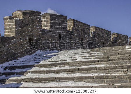 Snow covering the Mutianyu section of the Great Wall of China