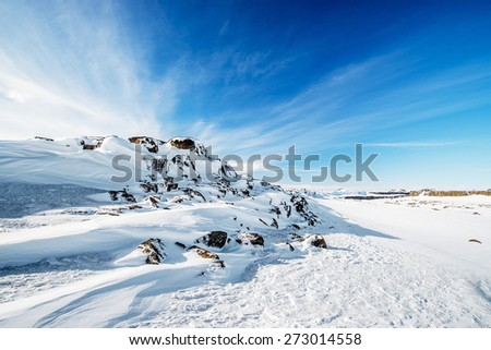 snow desert winter landscape in iceland - stock photo