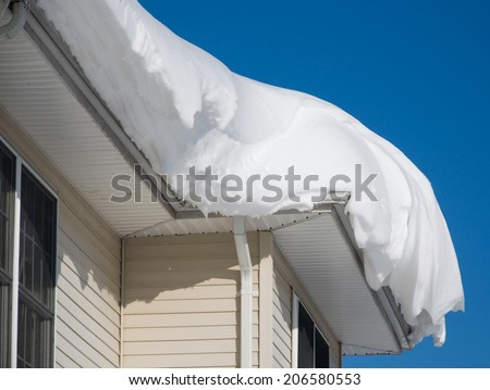 Snow drift on roof after two days of snowfalls