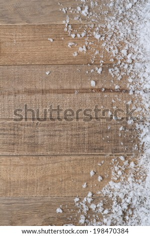 Snow drift on Wood Boards with Blank Space or Room for Copy, Text, or your Words. Horizontal boards.  Vertical frame. - stock photo