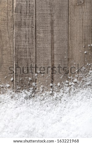 Snow drift on Wood Boards with Blank Space or Room for Copy, Text, or your Words.  Vertical with cool tones - stock photo