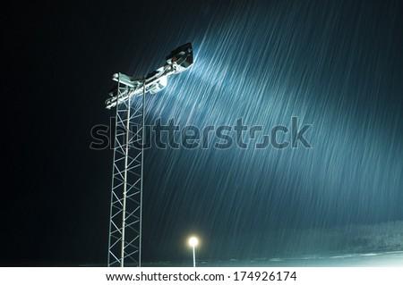 Snow effect in night - stock photo
