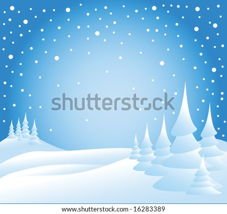 Snow falling on the trees - illustration