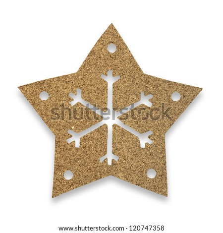 snow flake Christmas tree topper with recycled paper - stock photo