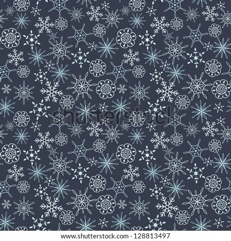 Snow flakes seamless background