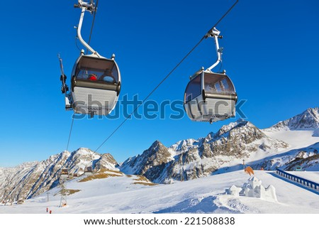 Snow fort in mountains ski resort Austria - nature and sport background - stock photo