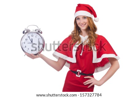 Snow girl with clock on white