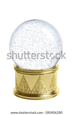 Snow globe cutout, isolated on white background - stock photo