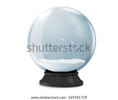 Snow Globe isolated on white background - stock photo