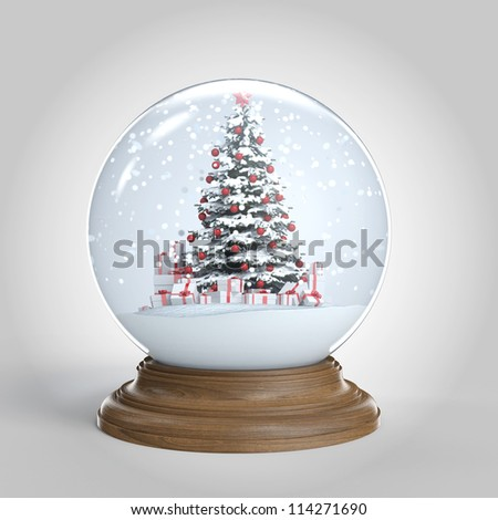 snow globe with a red decorated christmas tree and presents isolated on white, clipping path included - stock photo