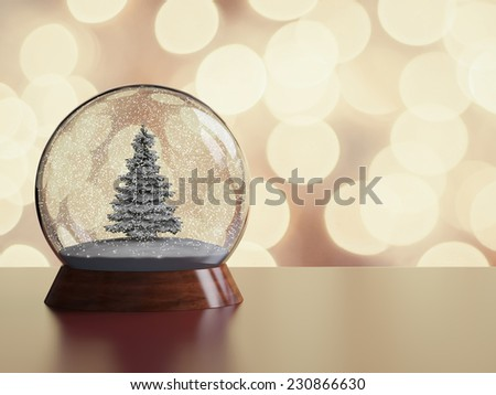 Snow globe with christmas tree. Souvenir. Christmas background.  - stock photo