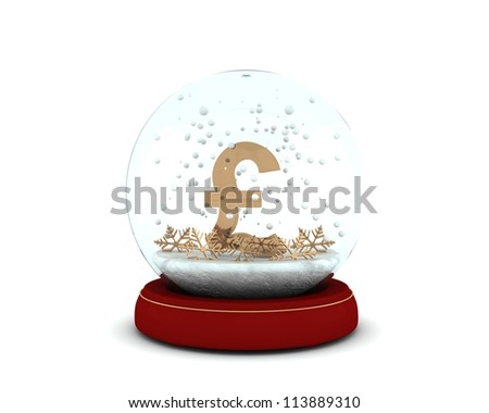 Snow globe with golden pound and snowflakes isolated on white background