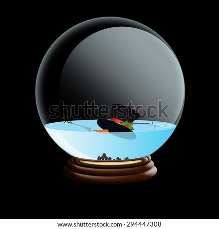 Snow Globe with melted snowman, isolated black - stock photo