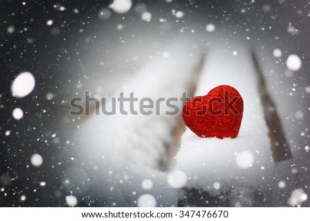 Snow hearts red winter two - stock photo