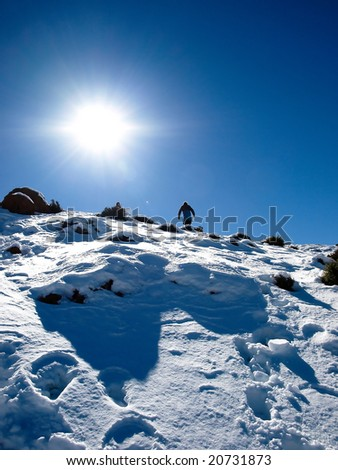Snow hiking in High Atlas - Morocco - stock photo