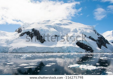 Snow hill in Antarctica, Lemaire channel - stock photo