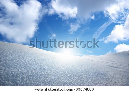 Snow hills. Nature composition. - stock photo