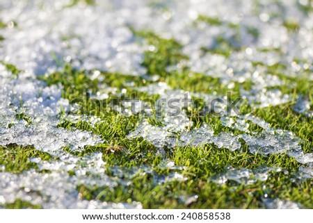 Snow ice on grass - stock photo