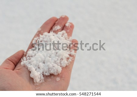Snow in hand, white background