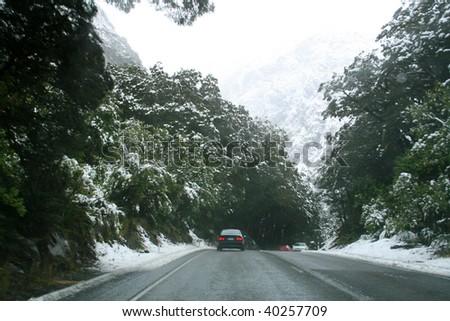 Snow in New Zealand - stock photo