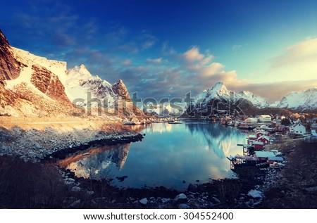 snow in Reine Village, Lofoten Islands, Norway - stock photo