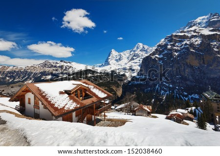 SNOW IN SWISS - stock photo