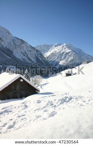 snow in the alps - stock photo