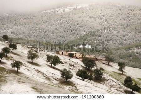 Snow in the Atlas mountains - Morocco - stock photo