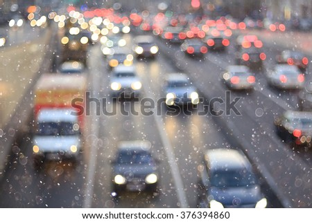 snow in the city background Expressway - stock photo
