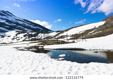 snow in the mountains - stock photo