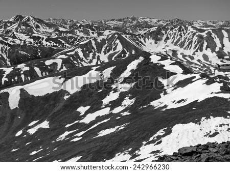 Snow in the mountains, Colorado Rockies, Rocky Mountains, Colorado - stock photo