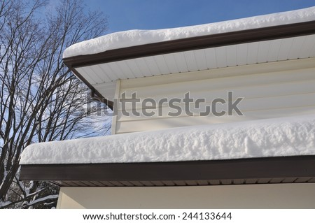 Snow in the roof - stock photo