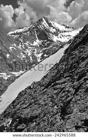 Snow in the Sangre de Cristo Mountains with Colorado 14er Ellingwood Point, Rocky Mountains - stock photo