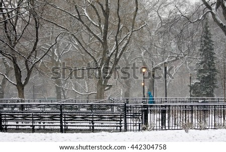 Snow in Tompkins Square Park.