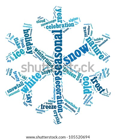 Snow info-text graphics arrangement composed in snow flake shape concept (word clouds) - stock photo